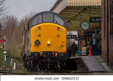 LOUGHBOROUGH, LEICESTERSHIRE, UK - MARCH 18, 2017: Diesel electric locomotive Class 37 No. 37714 stands at Loughborough Station during the Great Central Railway's  Spring Diesel Gala.