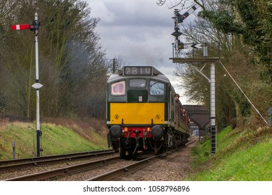 LOUGHBOROUGH, LEICESTERSHIRE, UK - MARCH 18, 2017: Diesel electric locomotive Class 25 No. D5185 out of Loughborough with a passenger service during the Great Central Railway's  Spring Diesel Gala.