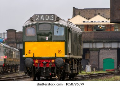 LOUGHBOROUGH, LEICESTERSHIRE, UK - MARCH 18, 2017: Diesel electric locomotive Class 25 No. D5185 repositions at Loughborough during the Great Central Railway's  Spring Diesel Gala.
