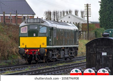 LOUGHBOROUGH, LEICESTERSHIRE, UK - MARCH 18, 2017: Diesel electric locomotive Class 25 No. D5185 stands at Loughborough yard during the Great Central Railway's  Spring Diesel Gala.