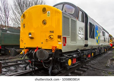 LOUGHBOROUGH, LEICESTERSHIRE, UK - MARCH 18, 2017: Diesel electric locomotive Class 37 No. 37714 'Cardiff Canton' stands at Loughborough during the Great Central Railway's  Spring Diesel Gala.