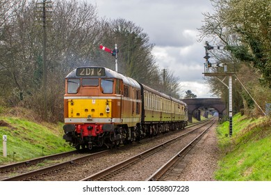 LOUGHBOROUGH, LEICESTERSHIRE, UK - MARCH 18, 2017: Diesel electric locomotive Class 31 No. D5830 heads into Loughborough with a passenger service during the GCR's  Spring Diesel Gala.
