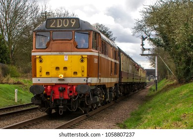 LOUGHBOROUGH, LEICESTERSHIRE, UK - MARCH 18, 2017: Diesel electric locomotive Class 31 No. D5830 hauls a passenger train out of Loughborough during the Great Central Railway's  Spring Diesel Gala.