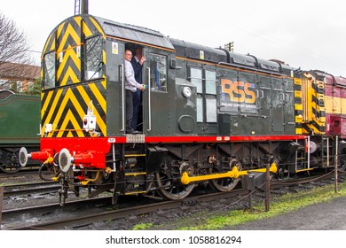 LOUGHBOROUGH, LEICESTERSHIRE, UK - MARCH 18, 2017: Railway Support Services (RSS) diesel electric Class 08 No. 08480 stands at Loughborough yard during the GCR's  Spring Diesel Gala.