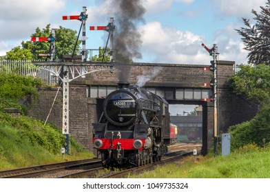 LOUGHBOROUGH, LEICESTERSHIRE, UK - MAY 22, 2016: Steam locomotive LMS Class 5MT 4-6-0 No. 45305 repositions out of Loughborough during the GCR's  Railways at Work Gala.