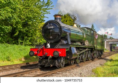 LOUGHBOROUGH, LEICESTERSHIRE, UK - MAY 22, 2016: Steam locomotive GWR 6959 Class 4-6-0 No. 6990 'Witherslack Hall' repositions out of Loughborough during the GCR's  Railways at Work Gala.