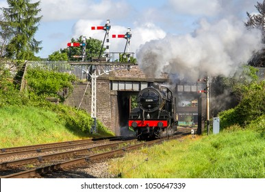 LOUGHBOROUGH, LEICESTERSHIRE, UK - MAY 22, 2016: Steam locomotive S&DJR Fowler 2-8-0 Class 7F No. 53808 repositions out of Loughborough during the GCR's  Railways at Work Gala.