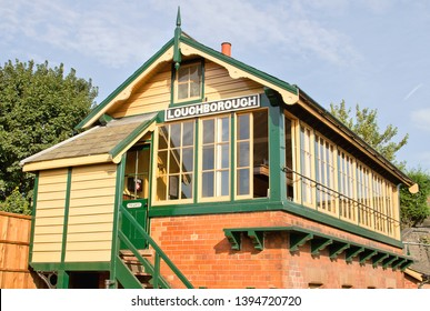 LOUGHBOROUGH, LEICESTERSHIRE, UK - OCTOBER 3, 2014: An immaculate Loughborough signal box, overlooking the adjacent yard, has a busy start as the GCR's Autumn Steam Gala gets under way.