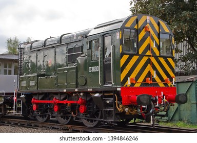 LOUGHBOROUGH, LEICESTERSHIRE, UK - OCTOBER 3, 2014: BR Green Class 08  0-6-0DE shunter No. D3690 (TOPS No. 08528) stands idle at Loughborough during the Great Central Railway's Autumn Steam Gala.