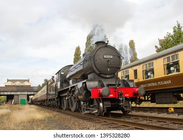 LOUGHBOROUGH, LEICESTERSHIRE, UK - OCTOBER 3, 2014: LNER Class D49 4-4-0 No. 62712 'Morayshire', as The South Yorkshireman, works the 2A23 13:00 Loughborough to Leicester North service.