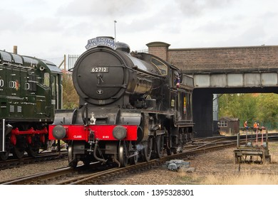 LOUGHBOROUGH, LEICESTERSHIRE, UK - OCTOBER 3, 2014: LNER Class D49 4-4-0 No. 62712 'Morayshire', as The South Yorkshireman, carries out a positioning move at Loughborough during the GCR's Steam Gala.