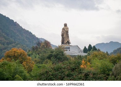 Louguantai / China - Oct 2019: Statue of Lao Tze near Louguantai temple near Xian. The place where tradition says that Lao Tze composed the Tao Te Ching.