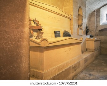 Louis Braille and Jean Perrin tomb in the crypt of the Pantheon in Paris, France