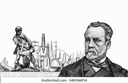 Louis Pasteur. Statue (by Truffot). Microscope and other laboratory implements. Animals used in Louis Pasteur. Pasteur Institute in Paris. Portrait 5 French banknotes 1966. Closeup Collection