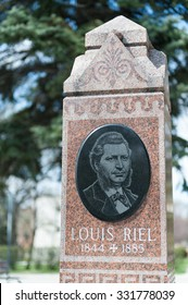Louis Riel grave, founder of the province of  Manitoba and leader of the Metis in St. Boniface Cathedral Cemetery, Winnipeg, Manitoba