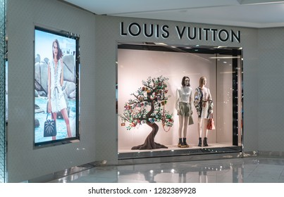 Louis Vuitton shop at King Power, Bangkok, Thailand, Dec 31, 2018 : Luxury and fashionable brand display. Fashionable leather bag window display.