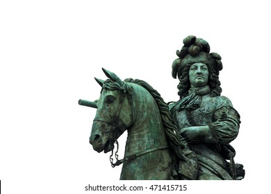 Louis XIV. Equestrian statue. Detail. Isolated on white. Versailles. France.