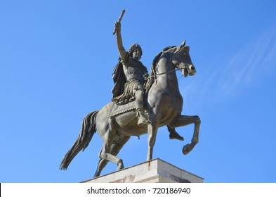 Louis XIV statue on a horse, Peyrou esplanade, in Montpellier city, south of France