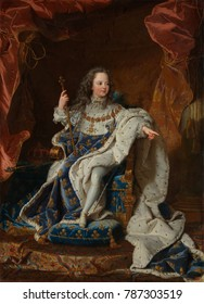 LOUIS XV, by Hyacinthe Rigaud, 1714, French Baroque painting, oil on canvas. He ascended the throne at age five, succeeding his great-grandfather, and reigned from 1714 to 1774