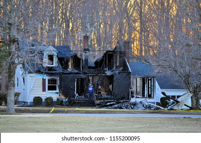 LOUISA, VA - March 4, 2010: A home destroyed when a small private plane crashed into it. The pilot was killed.