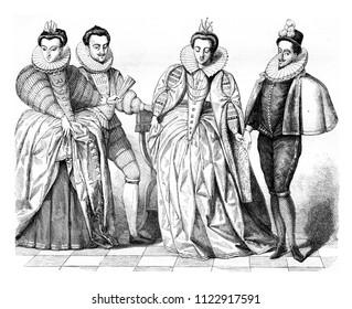 Louise de Vaudemont, wife of Henry iii, The Duke of Guise, Marguerite de Vaudemont and Anne de Joyeuse, vintage engraved illustration. Magasin Pittoresque 1855.