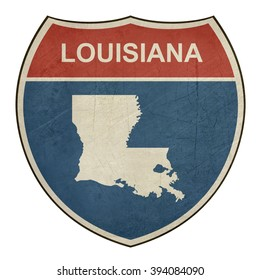Louisiana American interstate highway road shield isolated on a white background.