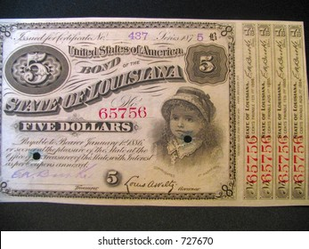 Louisiana bond five dollars vintage