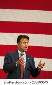 Louisiana Governor Bobby Jindal speaks at the First in the Nation Leadership Summit in Nashua, NH, on April 18, 2015.