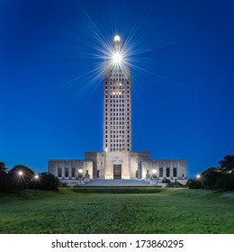 Louisiana State Capitol building at night in Baton Rouge, Louisiana