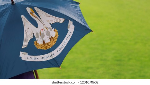 Louisiana state flag umbrella. Closeup of a printed umbrella over green field/lawn background. Rainy weather / climate change and global warming concept.