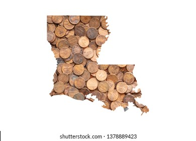 Louisiana State Map and Money Concept,  Piles of Coins, Pennies
