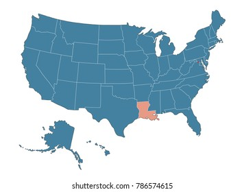 Louisiana state - Map of USA