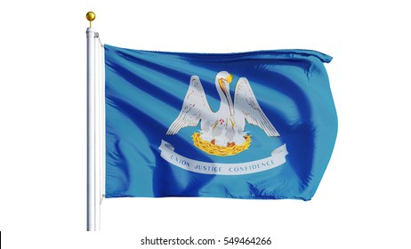 Louisiana (U.S. state) flag waving on white background, close up, isolated with clipping path mask alpha channel transparency, perfect for film, news, composition