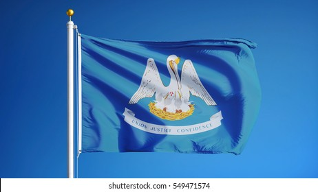 Louisiana (U.S. state) flag waving against clear blue sky, close up, isolated with clipping path mask alpha channel transparency, perfect for film, news, composition