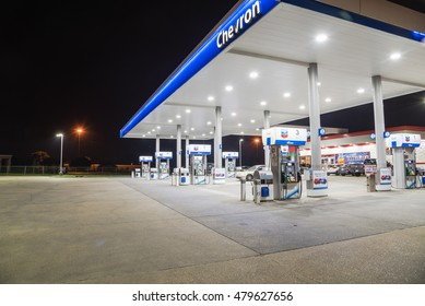 LOUISIANA, US-SEPT 3, 2016: Chevron gas station and convenience store at night. It is an American multinational energy corporation. The successor of Standard Oil with headquartered in San Ramon, CA.