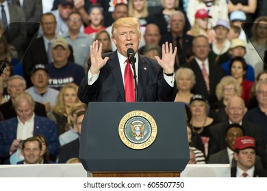 Louisville, Kentucky – March 20, 2017: President Donald J. Trump addresses a crowd at a rally inside Freedom Hall in Louisville, Kentucky, on March 20, 2017.