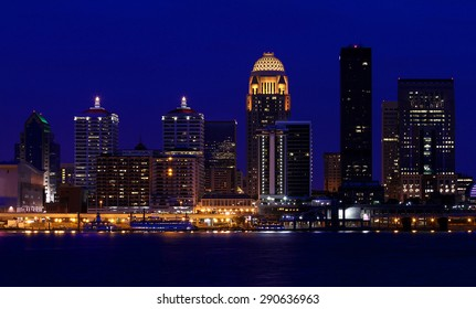 Louisville, Kentucky skyline at night, as seen from across the Ohio River