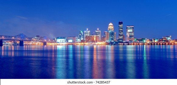 Louisville, Kentucky Skyline overlooking the Ohio River at Sunset