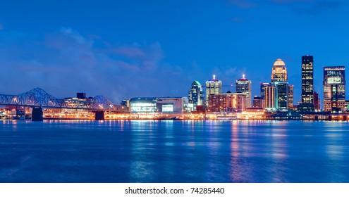 Louisville, Kentucky Skyline overlooking the Ohio River at Sunset