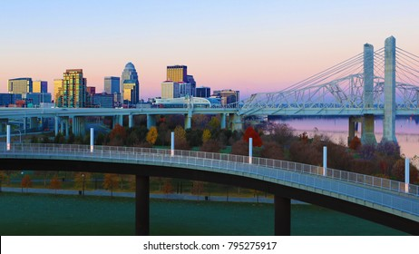 The Louisville, Kentucky skyline at sunrise