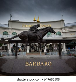 Louisville, Kentucky, United States: May 4, 2017: Barbaro Statue at Gate 1 on an overcast day