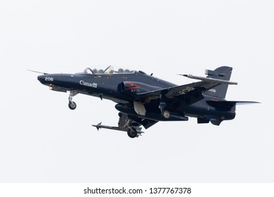 Louisville, Kentucky, USA - April 13, 2019: Thunder Over Louisville,   Royal Canadian Air Force CT-155 Hawk Performing a fly by over the Ohio River