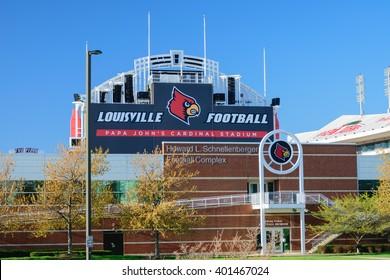 Louisville, Kentucky, USA - April 3, 2016. Papa John's Cardinal Stadium home of Louisville Cardinal Football