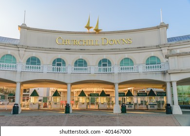 Louisville, Kentucky, USA - April 4, 2016. Main Entrance to Churchill Downs where the Kentucky Derby is held on the first Saturday in May.