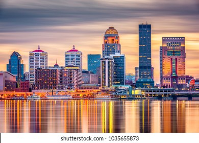 Louisville, Kentucky, USA downtown skyline on the Ohio River at dusk.  - Shutterstock ID 1035655873
