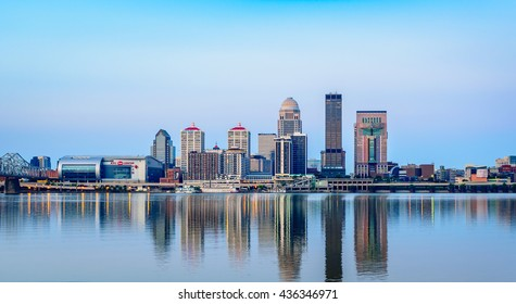 LOUISVILLE, KENTUCKY, USA - JUNE 12, 2016: Louisville,  located on the  banks of the Ohio River, is home to the Kentucky Derby and the hometown of Muhammad Ali. Louisville is Kentucky's largest city.