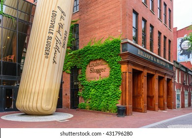 LOUISVILLE, KENTUCKY, USA - JUNE 5 2016 - Hillerich & Bradsby Company Louisville Slugger Museum & Factory in downtown Louisville Kentucky.