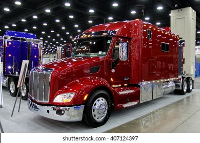 Louisville, Kentucky, USA March 31, 2016: Peterbilt truck with custom sleeper at Mid-American Tracking show 2016, March 31, 2016, Louisville, Kentucky