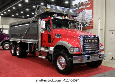 Louisville, Kentucky, USA March 31, 2016: Lorry truck Mack Granite at Mid-American Tracking show 2016, March 31, 2016, Louisville, Kentucky