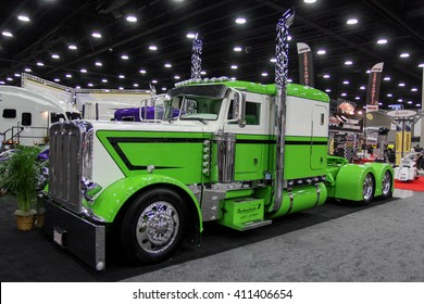 Louisville, Kentucky, USA March 31, 2016: Truck Peterbilt with customer sleeper at Mid-American Tracking show 2016, March 31, 2016, Louisville, Kentucky